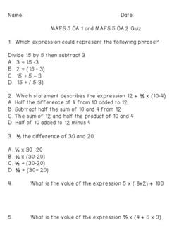 Duval Math (Engage NY, Eureka Math) Grade 5 Module 2 Topic B Quiz