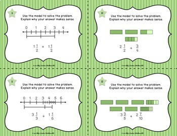 5.NF.1 Add and Subtract Fractions w Number Lines and Area Models Task Cards