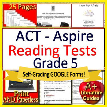 5th Grade ACT Aspire Test Prep Reading Practice Tests Print + Google  Paperless!