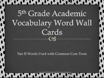 5th Grade Academic Vocabulary Word Wall with Dot border