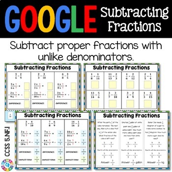 5th Grade Subtract Fractions with Unlike Denominators {5.NF.1} Google Classroom