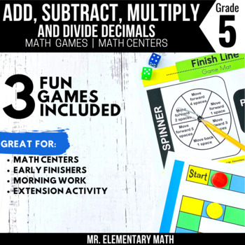 Add, Subtract, Multiply, Divide Decimals Games and Centers 5th Grade