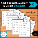 5th Grade Add Subtract Multiply and Dividing Decimals Worksheet Practice Set