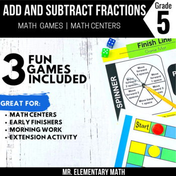 Add and Subtract Fractions Games and Centers 5th Grade