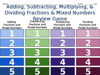 5th Grade Adding, Subtracting, Multiplying, Dividing Fractions and Mixed Numbers