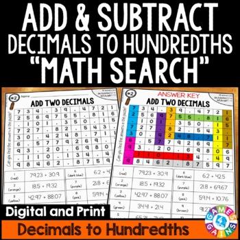 Adding And Subtracting Decimals Worksheet | Teachers Pay Teachers