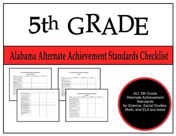 5th Grade Alabama Alternate Achievement Standards Checklist