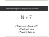 5th Grade Algebra Review