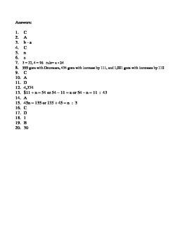 5th Grade - Algebraic Reasoning Unit Test