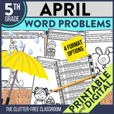 5th Grade April Word Problems printable and digital math a