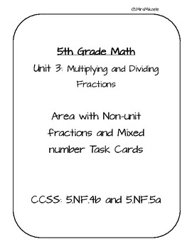 5th Grade Area using Non-Unit Fractions and Mixed Numbers