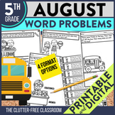 5th Grade August Word Problems printable and digital math