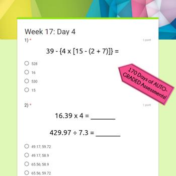 5th Grade Math Spiral Review: Google Morning Work, Auto-Graded Math Bundle