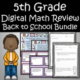 5th Grade Back to School Math Review Bundle Task Cards and Escape Room