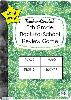 5th Grade Back-to-School Math Review Game