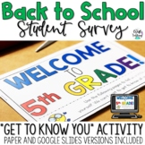 5th Grade Back to School Survey   Get to Know You Activity