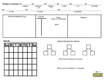 4th/5th Grade Common Core Math Calendar:  Concepts & Number Sense for Smartboard
