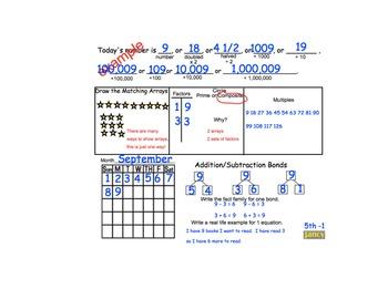 Common Core Math Calendar:  Concepts & Number Sense  Grades 4 and 5
