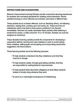 5th Grade Behavior Improvement Packet: Cooperation