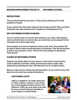 5th Grade Behavior Improvement Packet: Disturbed Class