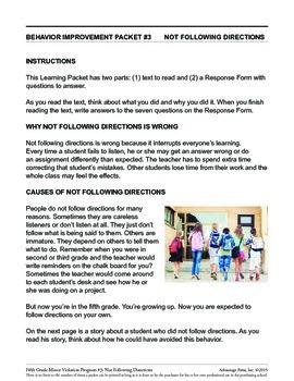 5th Grade Behavior Improvement Packet: Follow Directions