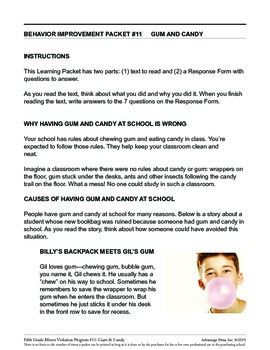 5th Grade Behavior Improvement Packet: Gum and Candy