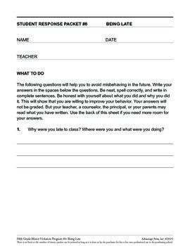 5th Grade Behavior Improvement Packet: Late to Class