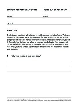 5th Grade Behavior Improvement Packet: Stay in Seat