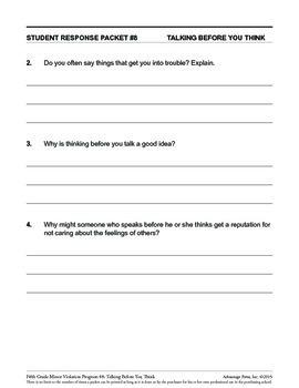 5th Grade Behavior Improvement Packet: Think First