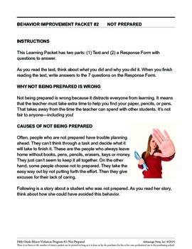 5th Grade Behavior Improvement Packet: Unprepared