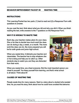 5th Grade Behavior Improvement Packet: Wasting Time