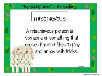 5th Grade Benchmark Advance Vocabulary Unit 2 week 1  Becky Returns