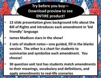 The Bill of Rights for Kids--5th Grade PowerPoint, Guided Notes, & Test ***ZIP