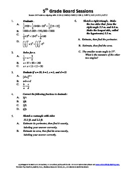 5th Grade Board Session 14, Common Core Necessities and Review