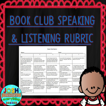 5th Grade Book Club Rubric with CCSS Reading and Speaking