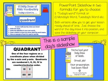 Measurement & Geometry Word Wall 5th Grade with PPT   Part 2 of 2
