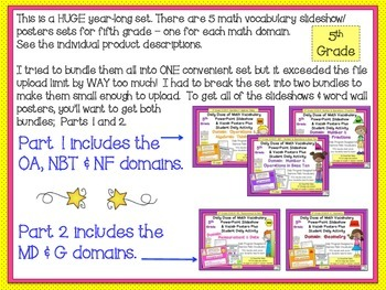 Math Word Wall Measurement & Geometry 5th Grade plus PPT  Part 2 of 2