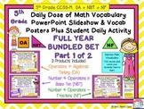 Algebra Plus Base Ten & Fractions Word Wall & PPT 5th Grad
