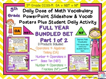 Algebra Plus Base Ten & Fractions Word Wall & PPT 5th Grad