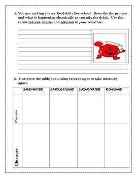 5th Grade CA Science CH 7 Types of Matter Student Engagement Journal