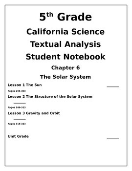 5th Grade CA Science Ch 6 The Solar System Student Notebook