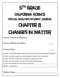 5th Grade CA Science Ch 8 Changes in Matter Student Journal