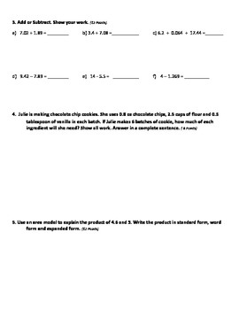 5th Grade CC Module 1 End of Unit Test