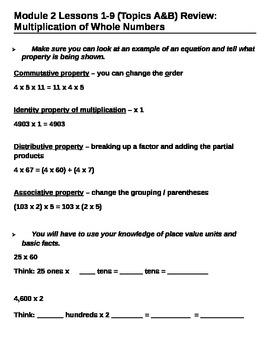 5th Grade CC Module 2 Topics A & B Review Sheet