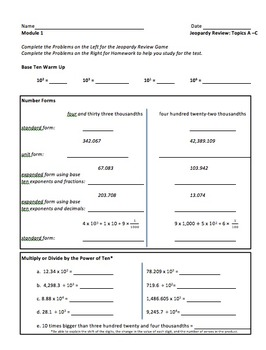 5th Grade CC Place Value & Decimal Review by Melissa ...