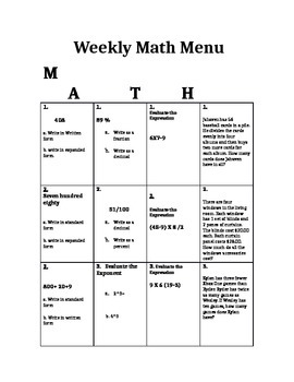 5th Grade CCGPS Math Choice Homework Menu- Order of Operations