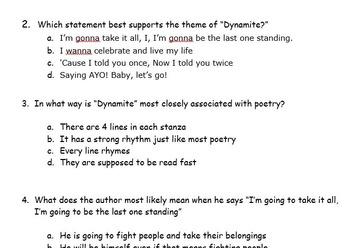 5th Grade CCLS Lyric Close Read