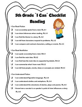 5th Grade CCRS (Common Core) I Can Statements Checklist