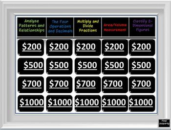 5th Grade CCS Math Jeopardy: End of the Year Review