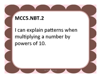 5th Grade CCS Math - Pink and Brown Theme - Student Friendly